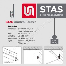 STAS multi crown wit - 200 cm