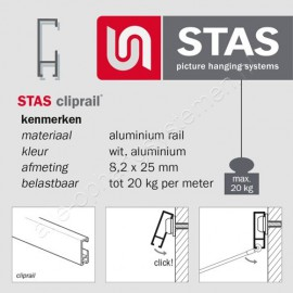 STAS rail muurclip messing - rond