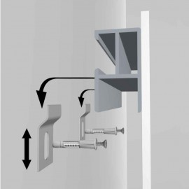 GeckoTeq DiBond Rail set including 2 self-adhesive Rails, 2 wall hooks and 1 cleaning cloth